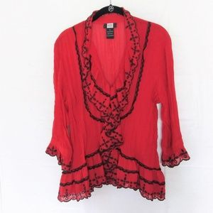 red w/ Black Embroidered Ruffles Blouse.